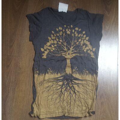Női SURE DESIGN póló arany Életfa mintázattal sötétszürke színben