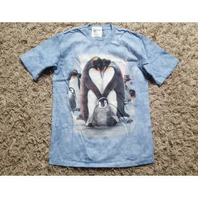 Világoskék pingvinszív mintás póló