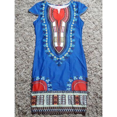 Kék-piros absztrakt mintájú hosszított fazonú ruha