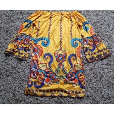 Élénk sárga pszichedelic mintázatú gumis nyakú, bő ujjú női ruha