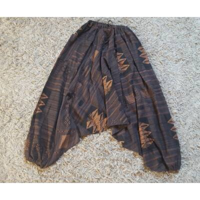 Buggyos Aladdin nadrág vastag pamut anyagból mintás barna színben