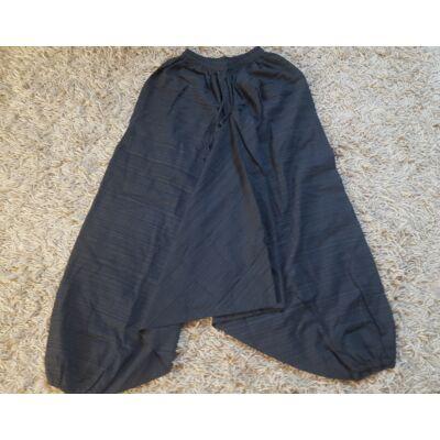 Egyszínű aladdin nadrág vastag pamut anyagból fekete színben