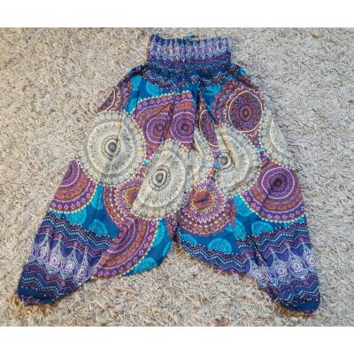 Buggyos Aladdin nadrág türkiz alapon bézs-lila mandala mintázattal