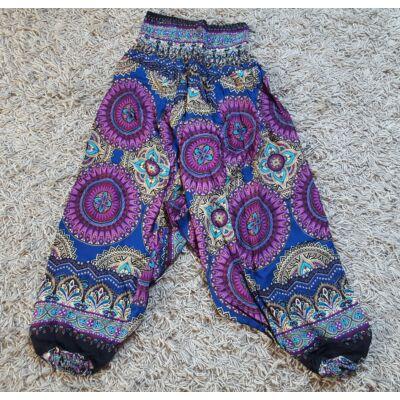 Buggyos Aladdin nadrág sötétkék alapon lila-bézs mandala mintázattal