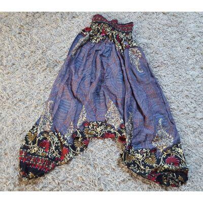 Buggyos Aladdin nadrág szürke alapon mandala és piros-bézs virág díszítéssel