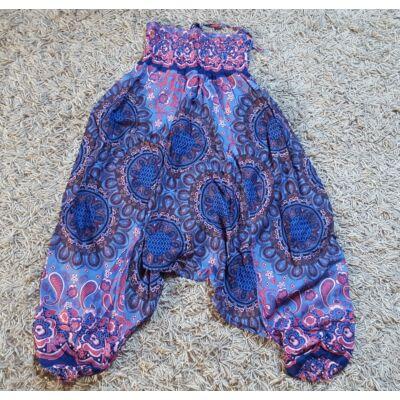 Buggyos Aladdin nadrág kék alapon rózsaszin-piros mandala és virág mintázattal