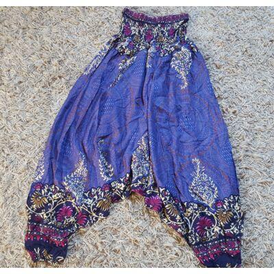 Buggyos Aladdin nadrág kék mandala és bézs-rózsaszín virág mintázattal