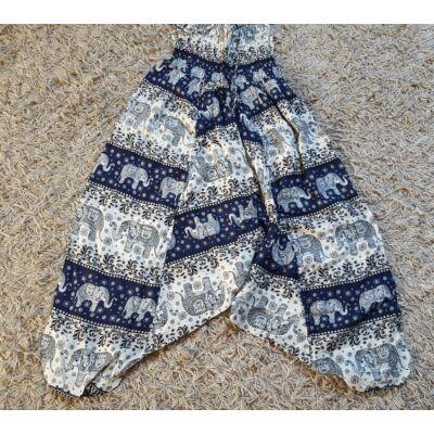 Buggyos Aladdin nadrág sötétkék-fehér alapon elefánt mintázattal