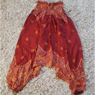 Buggyos Aladdin nadrág bordó alapon narancssárga mintázattal
