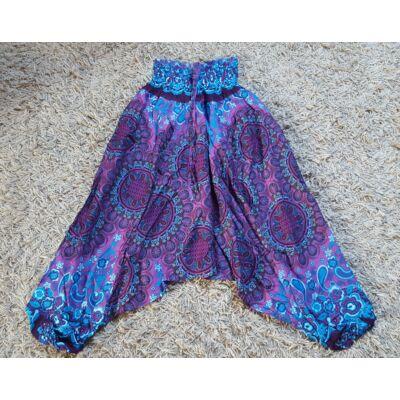 Buggyos Aladdin nadrág lila alapon mandalák és világoskék mandala mintázattal