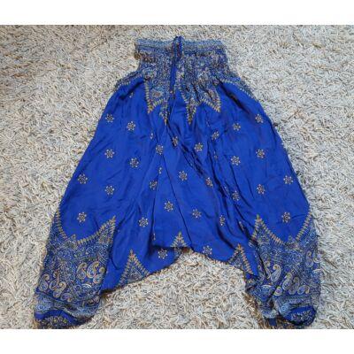 Buggyos Aladdin nadrág indigó alapon mustársárga-bézs mandala mintázattal