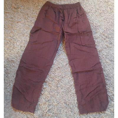 Bő szabású, könnyű, nyári nadrág barna pamutanyagból, négy zsebbel