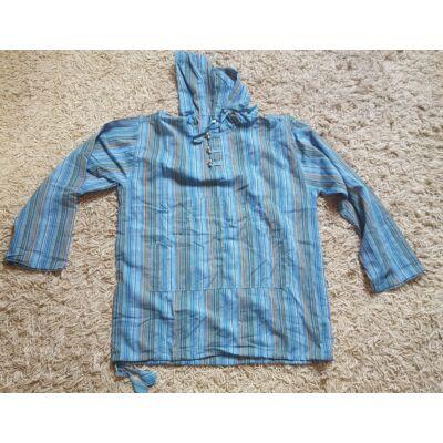 Hosszú ujjú kék csíkos kapucnis ing