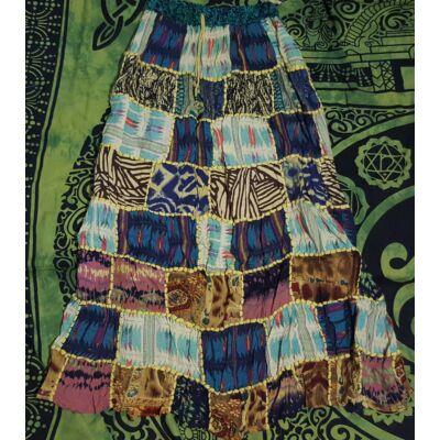 Patchwork jellegű hosszú szoknya sárga, türkiz, barna színekben