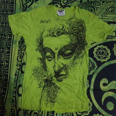 Férfi SURE póló limezöld színben Buddha mintával-M
