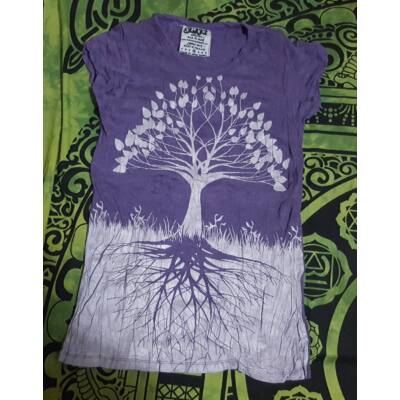 Női SURE DESIGN póló ezüst Életfa mintázattal lila színben-M
