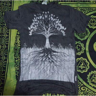 Női SURE DESIGN póló ezüst életfa mintázattal sötétszürke színben-XL