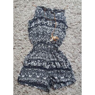 Fekete-fehér elefántmintás rövid ruha nadrágos kivitelben