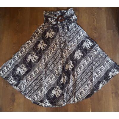Szuper könnyű gumis derekú szoknya övvel elefánt mintázattal, fekete-fehér színben