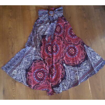 Szuper könnyű gumis derekú szoknya övvel mandalákkal rózsaszín, bordó, kék színben