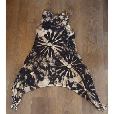 Szuper könnyű batikolt ujjatlan ruha fekete, bézs színben