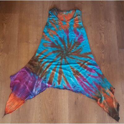 Szuper könnyű batikolt ujjatlan ruha türkiz, lila, narancs, barna színben