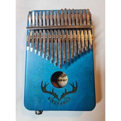 Kalimba 2 oktávos, kék szinben, jackdugós rénszarvas mintával hanganyaggal
