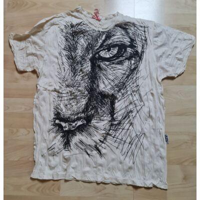 Sure Design férfi póló oroszlánfej mintázattal fehér színben-L