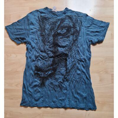 Sure Design férfi póló oroszlánfej mintázattal kék színben