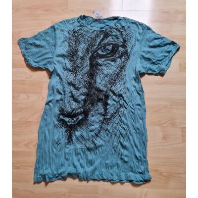 Sure Design férfi póló oroszlánfej mintázattal világoskék színben-XL