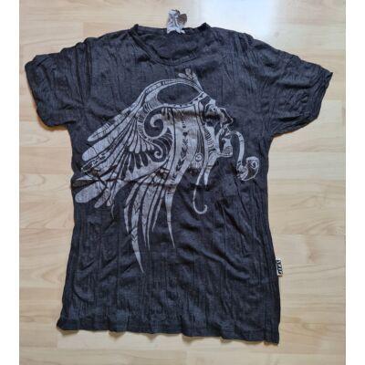 Sure férfi póló indiánfej mintázattal sötétszürke színben - M