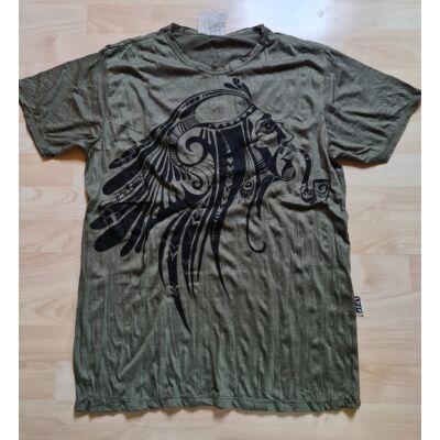 Férfi SURE póló indián mintával kekizöld színben-M méretben