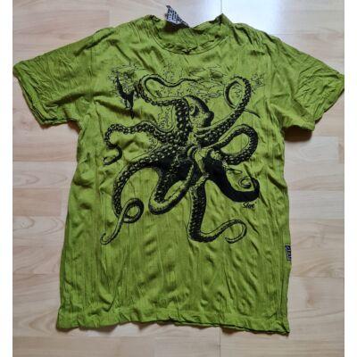 Férfi Sure póló polip mintázattal zöld színben M méretben