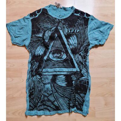 Férfi Sure póló harmadikszem mintázattal kék színben M méretben