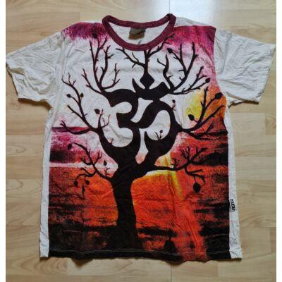 Férfi SURE póló OM-Életfa mintázattal fehér-narancs színben M méretben