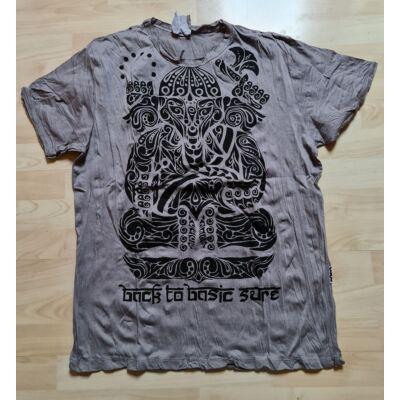 Férfi SURE póló Ganesha mintázattall szürke színben-L méretben