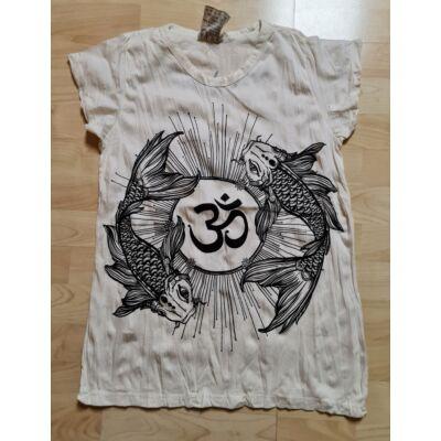 Női SURE DESIGN póló Om hal mandala mintázattal-fehér színben M méretben