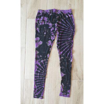 Hosszú legging fekete-lila batikolt mintázattal