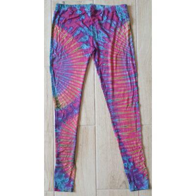 Hosszú legging kék-sárga-rózsaszín-lila batikolt mintázattal