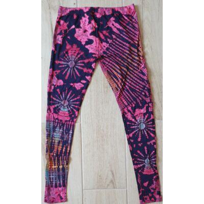Hosszú legging fekete-rózsaszín-kék-sárga batikolt mintázattal