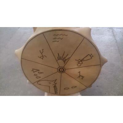 Sámándob 5. kecskebőrből 35cm átmérő,bütykös, szimbólumos