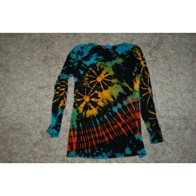 Női batikolt hosszú ujjú felső fekete-sárga-zöld-kék-narancs minta