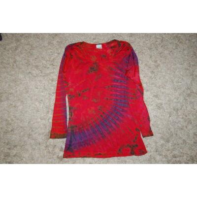 Női batikolt hosszú ujjú felső piros-lila-fekete-zöld minta