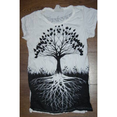 SURE DESIGN póló életfa mintázattal fehér színben
