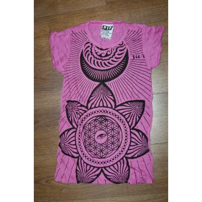 SURE DESIGN póló lótuszvirág mintázattal rózsaszín-M