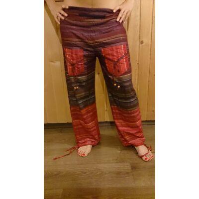 Indiai csíkos nadrág két zsebbel piros-bordó színben