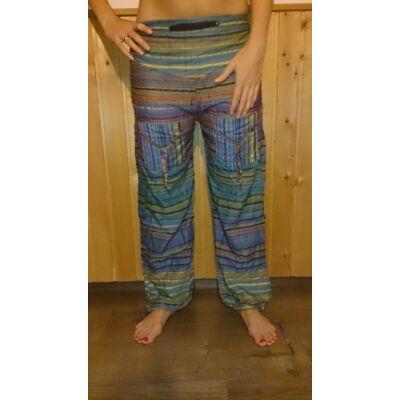 Indiai csíkos nadrág két zsebbel kék színben