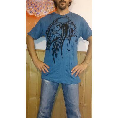 Sure férfi póló indiánfej mintázattal kék színben - L