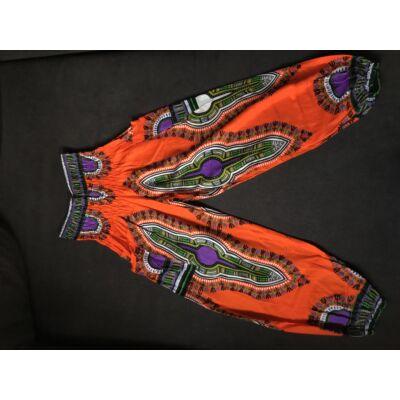 Hárem nadrág Thaiföldi bő fazonú narancssárga alapon azték mintázattal