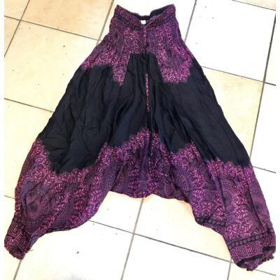 Buggyos Aladdin nadrág fekete alapon rózsaszín Mandala mintázattal